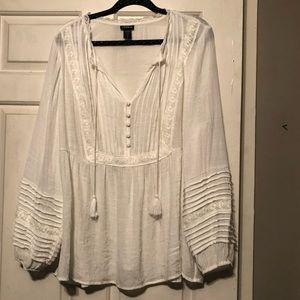 Torrid Boho Blouse with Sleeve Detail White Size 2